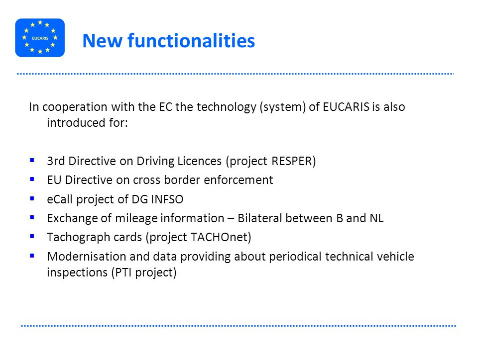 New functionalities In cooperation with the EC the technology (system) of EUCARIS is also introduced for: