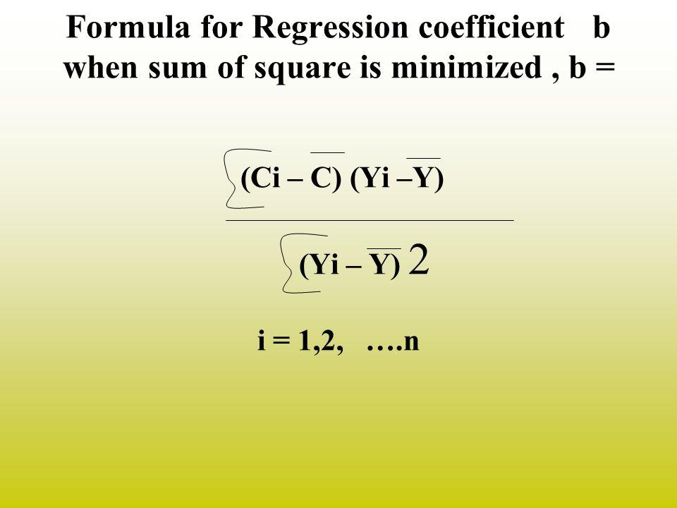 Formula for Regression coefficient b when sum of square is minimized , b = (Ci – C) (Yi –Y) (Yi – Y) 2 i = 1,2, ….n