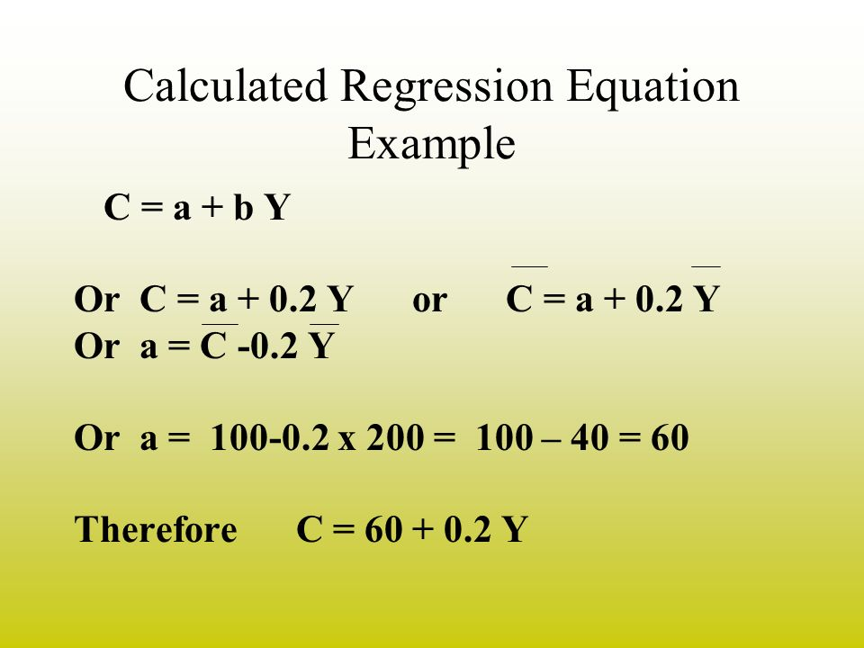 Calculated Regression Equation Example