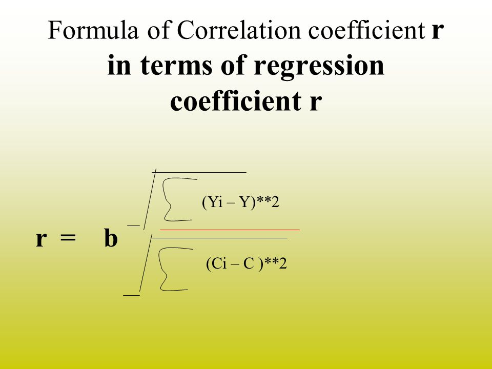 Formula of Correlation coefficient r in terms of regression coefficient r