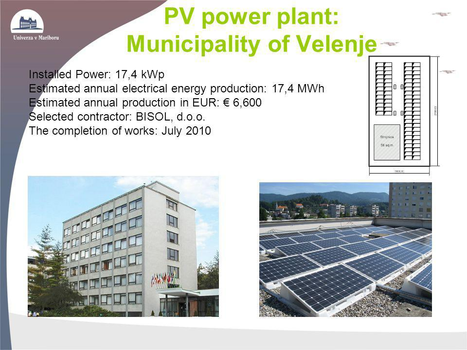 PV power plant: Municipality of Velenje