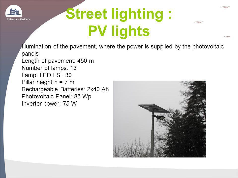 Street lighting : PV lights