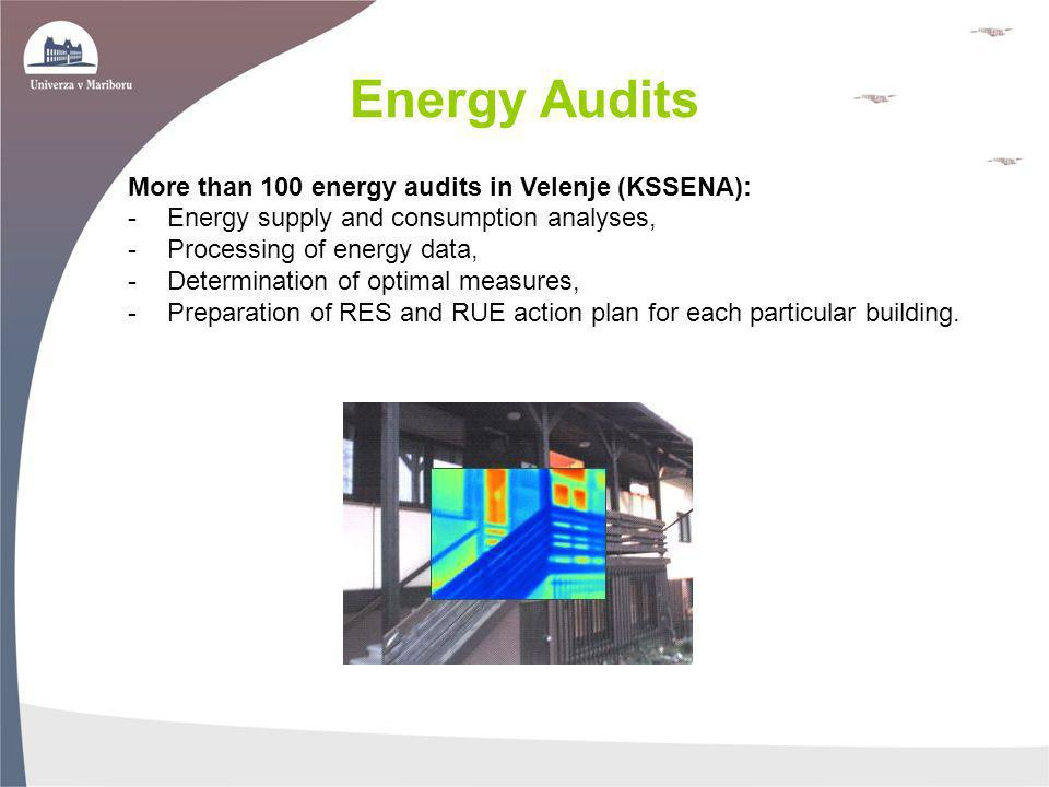 Energy Audits More than 100 energy audits in Velenje (KSSENA):