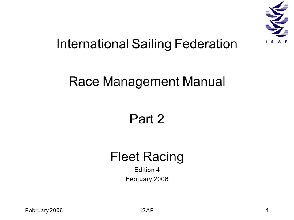 International Sailing Federation Race Management Manual Part 2