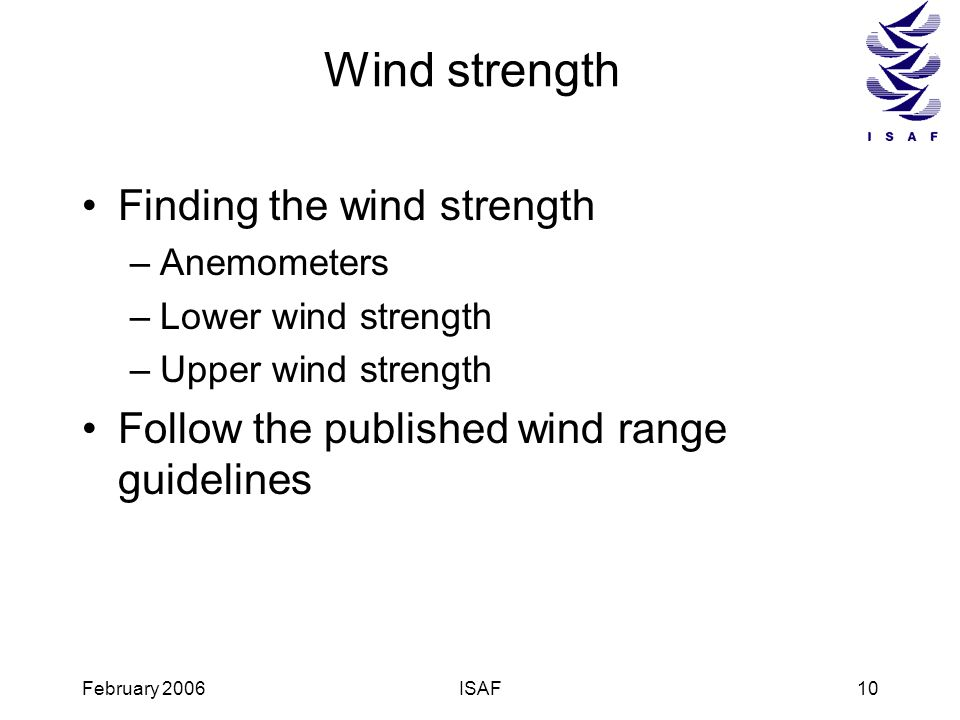 Wind strength Finding the wind strength