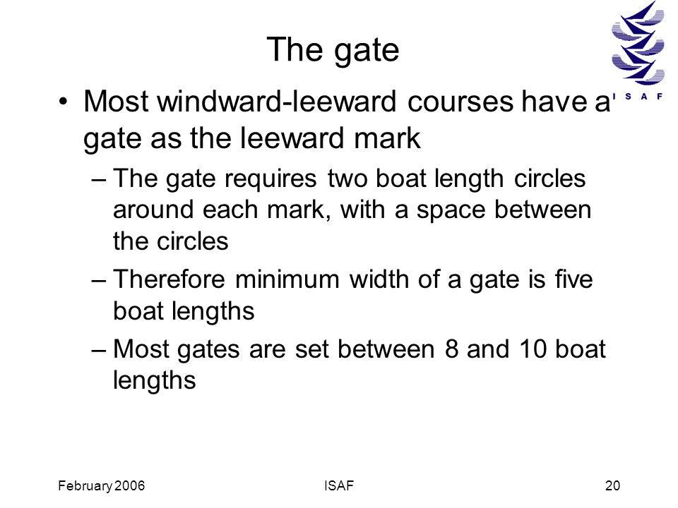 The gate Most windward-leeward courses have a gate as the leeward mark