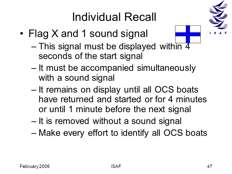 Individual Recall Flag X and 1 sound signal