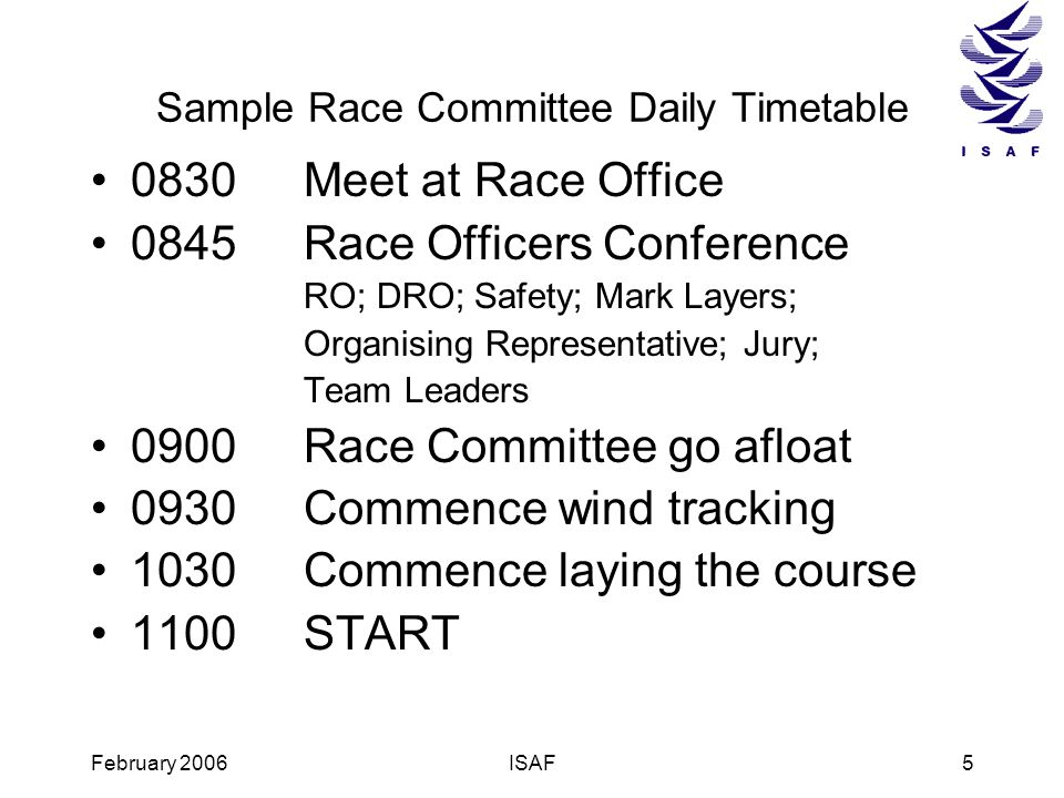 Sample Race Committee Daily Timetable