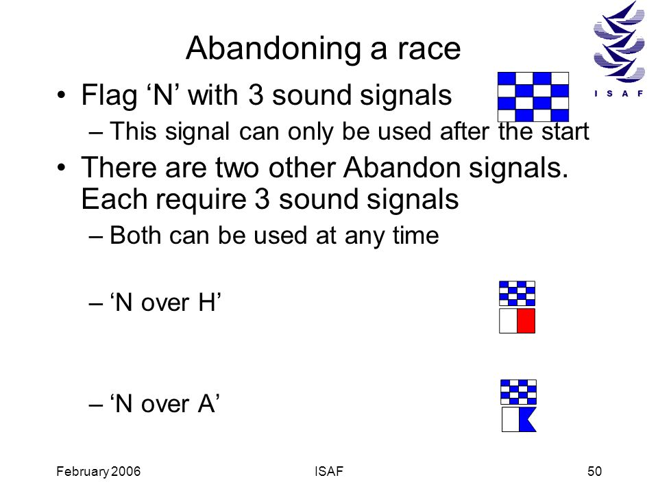 Abandoning a race Flag 'N' with 3 sound signals