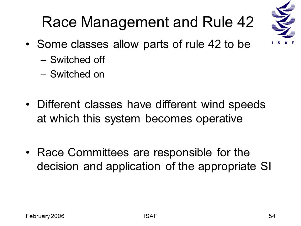 Race Management and Rule 42