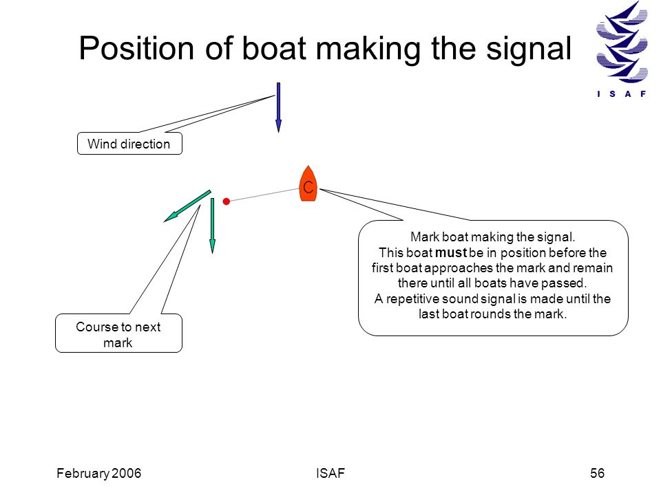 Position of boat making the signal