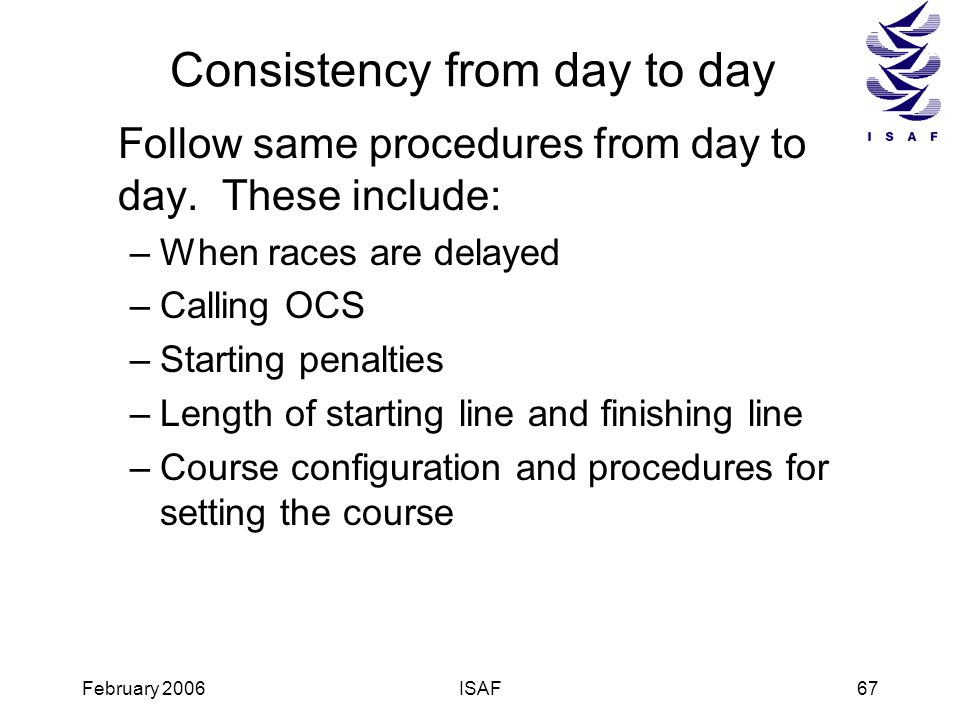 Consistency from day to day