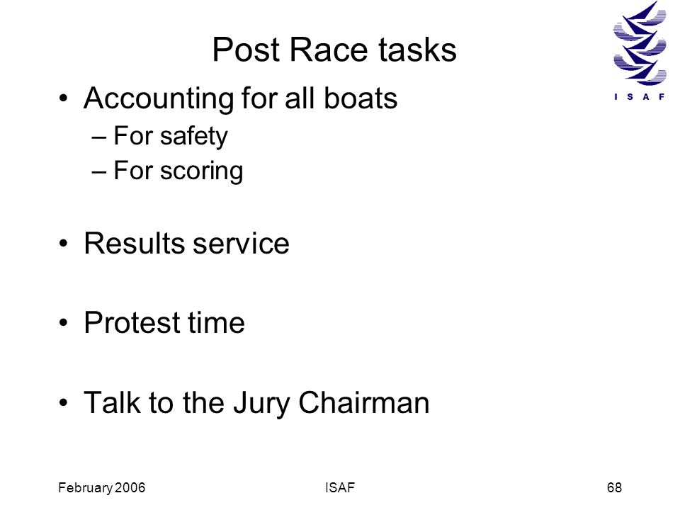 Post Race tasks Accounting for all boats Results service Protest time