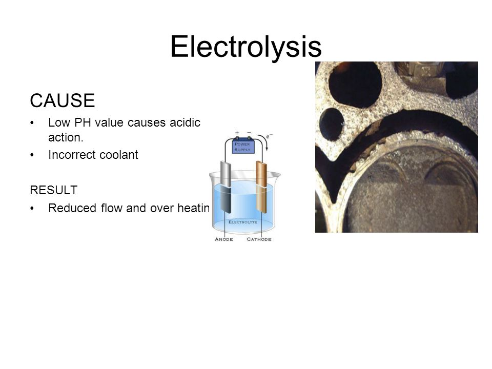 Electrolysis CAUSE Low PH value causes acidic action.
