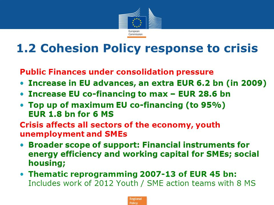 1.2 Cohesion Policy response to crisis
