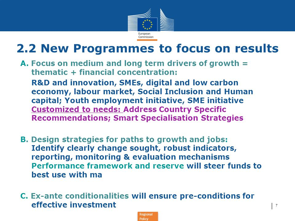 2.2 New Programmes to focus on results