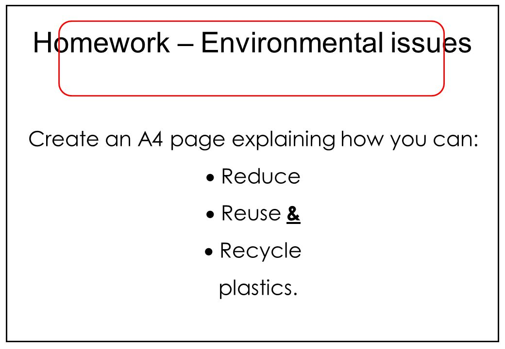 Homework – Environmental issues