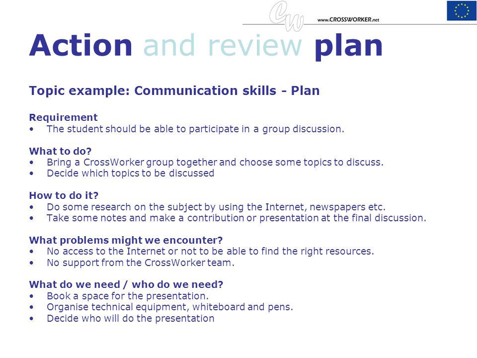 Action and review plan Topic example: Communication skills - Plan