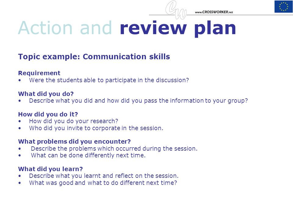 Action and review plan Topic example: Communication skills Requirement