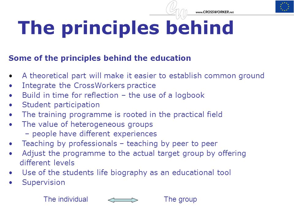 The principles behind Some of the principles behind the education