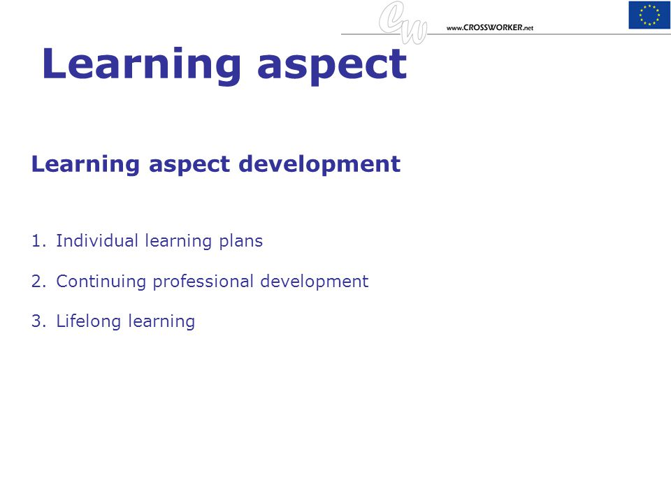 Learning aspect Learning aspect development Individual learning plans
