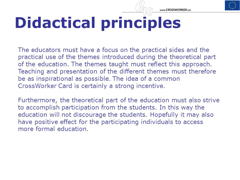 Didactical principles