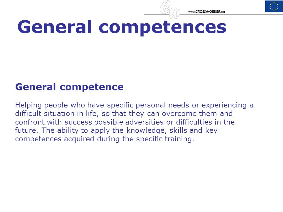 General competences General competence
