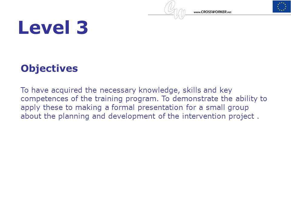 Level 3 Objectives.
