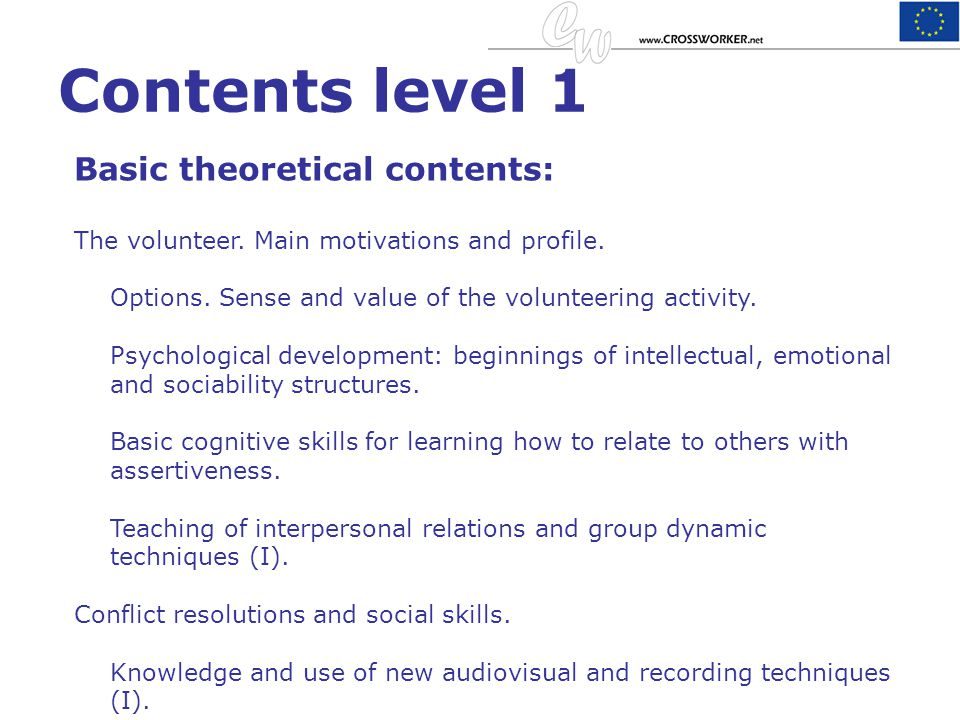 Contents level 1 Basic theoretical contents: