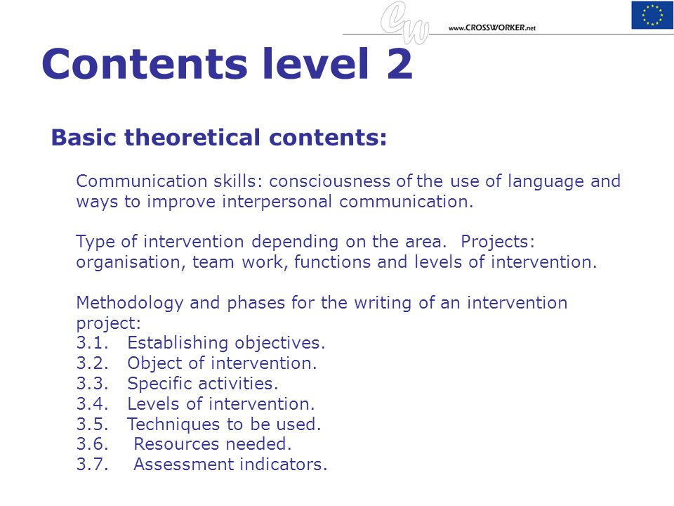 Contents level 2 Basic theoretical contents: