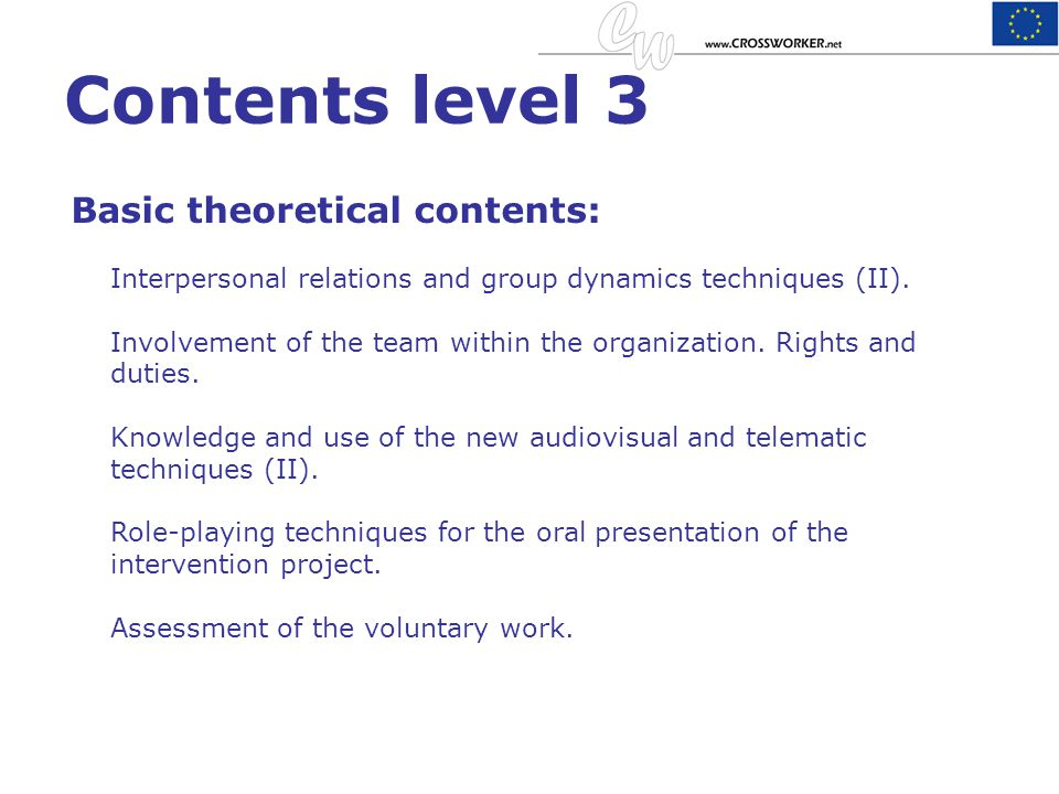 Contents level 3 Basic theoretical contents: