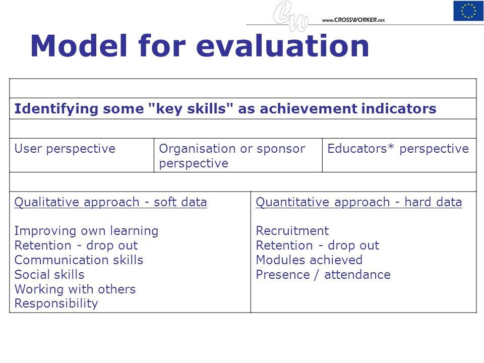 Model for evaluation Identifying some key skills as achievement indicators. User perspective. Organisation or sponsor perspective.