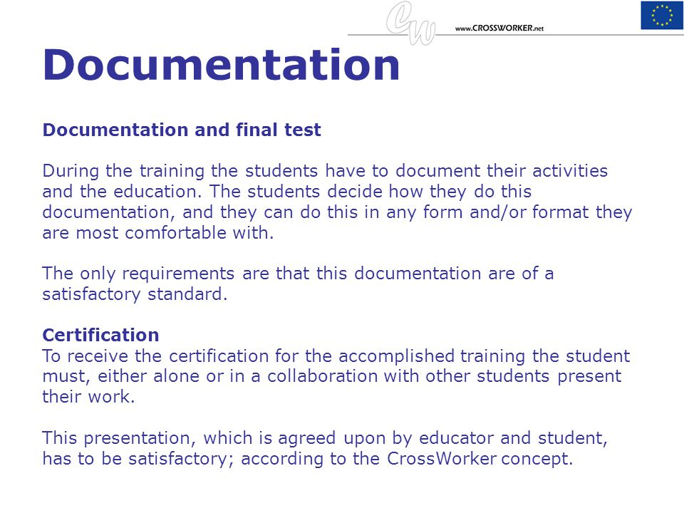 Documentation Documentation and final test
