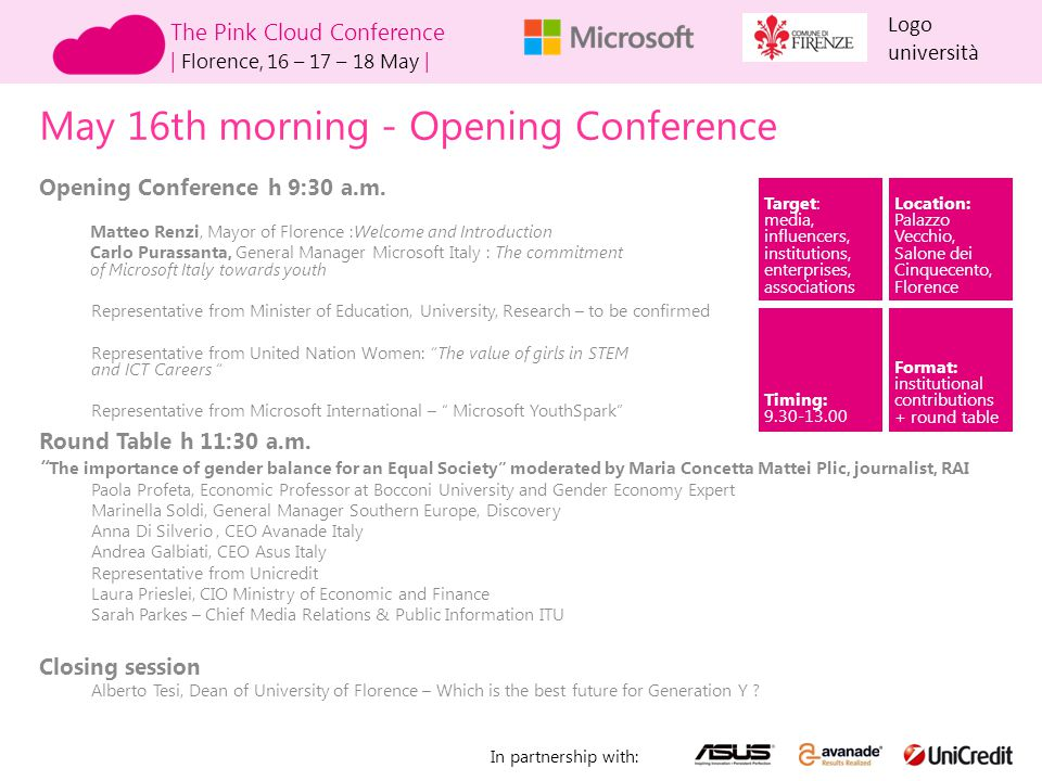 May 16th morning - Opening Conference