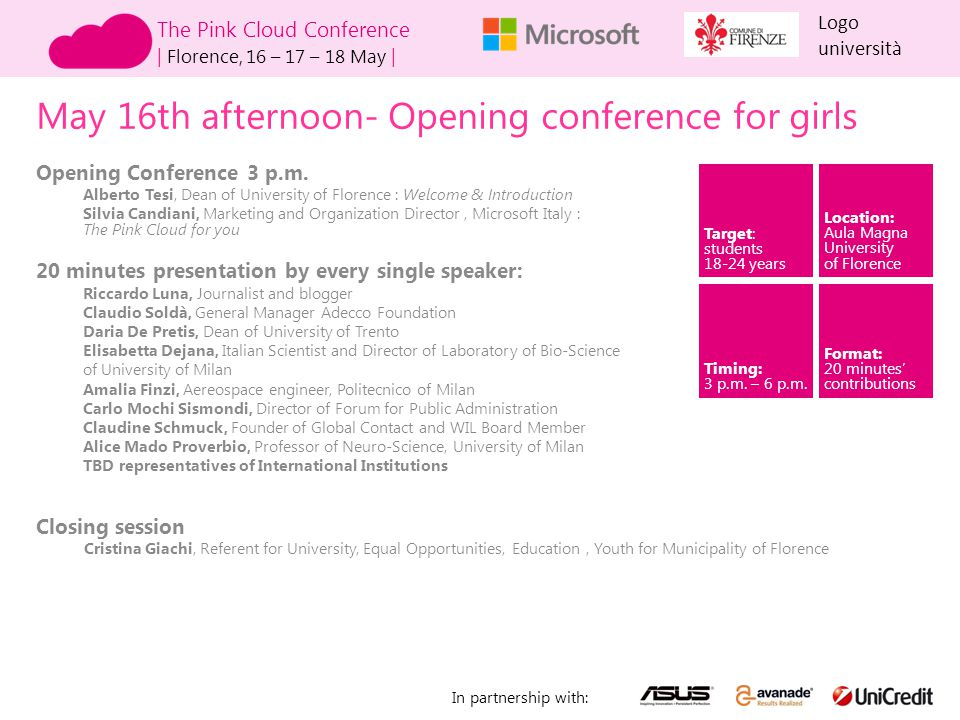 May 16th afternoon- Opening conference for girls