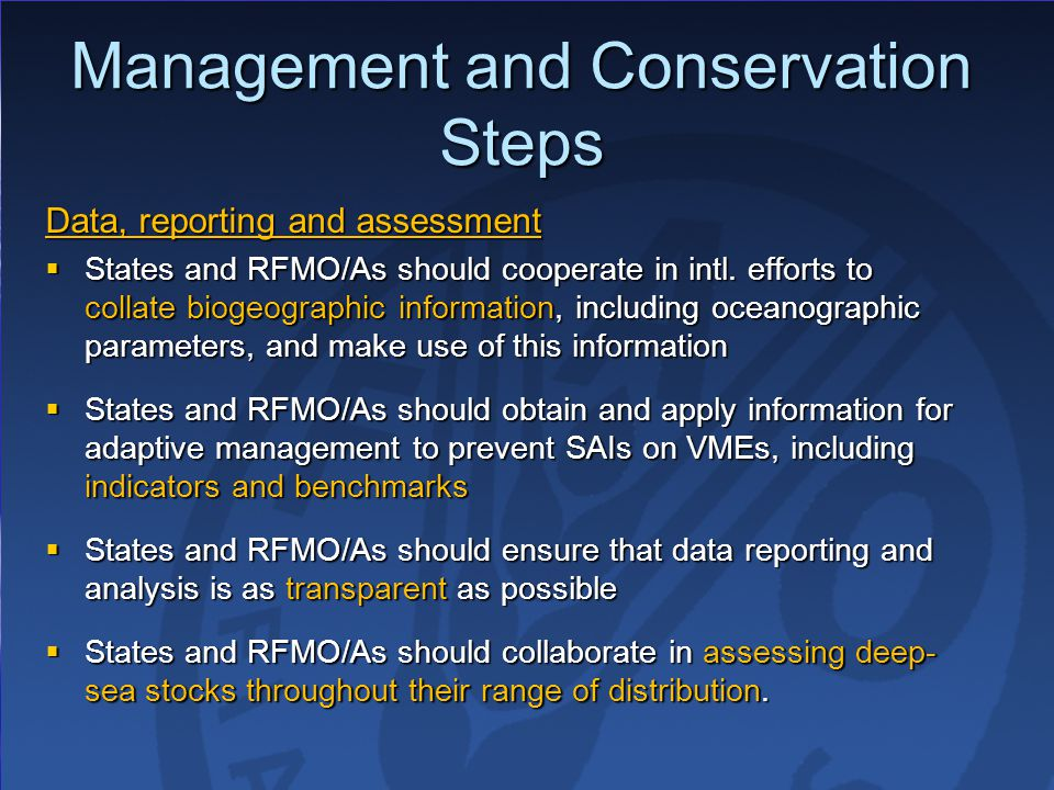 Management and Conservation Steps