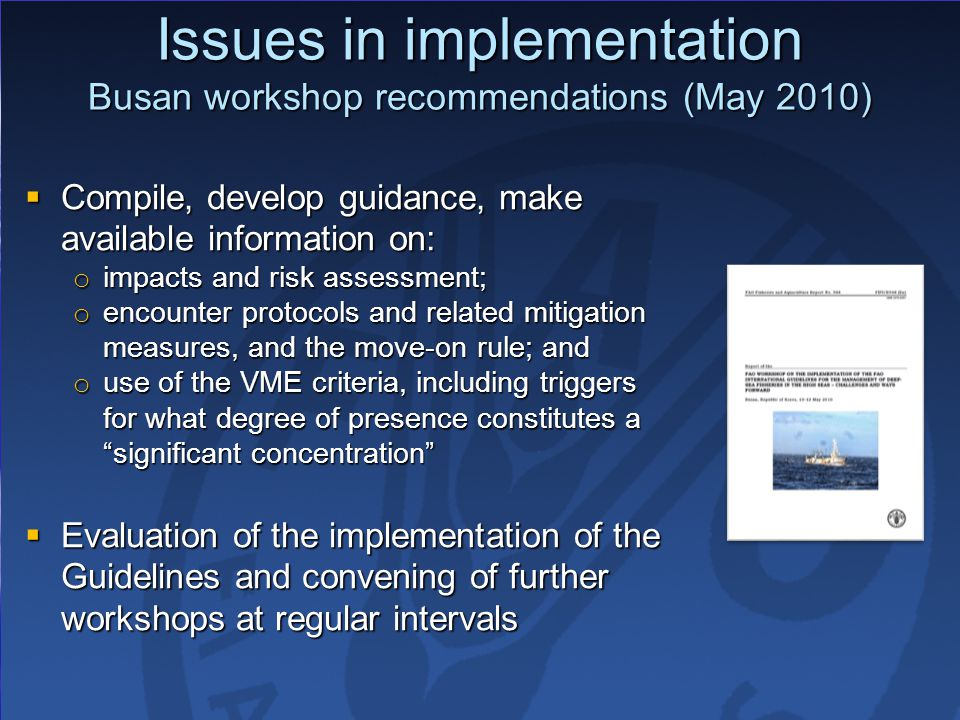 Issues in implementation Busan workshop recommendations (May 2010)