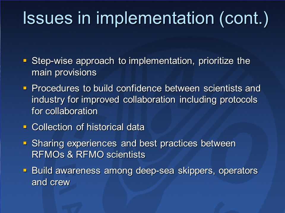 Issues in implementation (cont.)