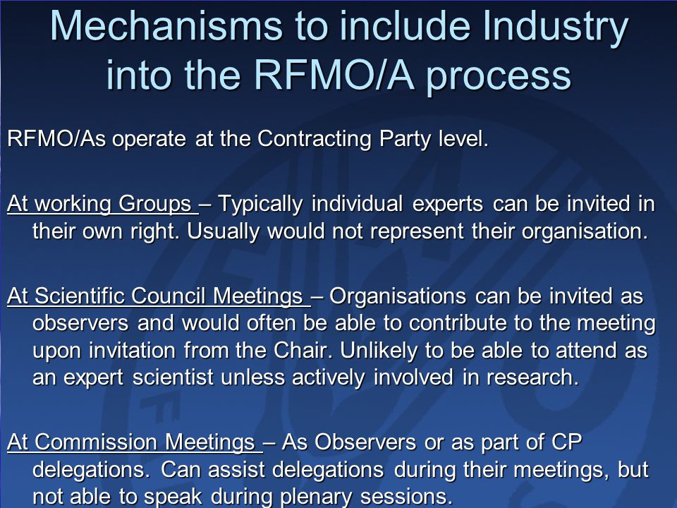 Mechanisms to include Industry into the RFMO/A process