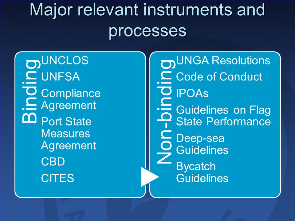 Major relevant instruments and processes