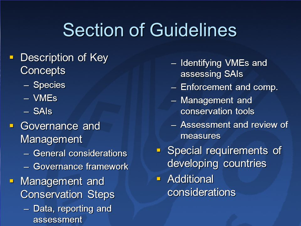 Section of Guidelines Description of Key Concepts