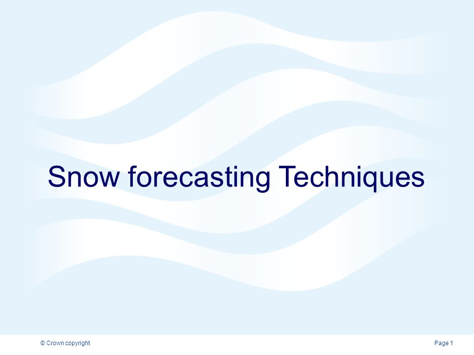 Snow forecasting Techniques