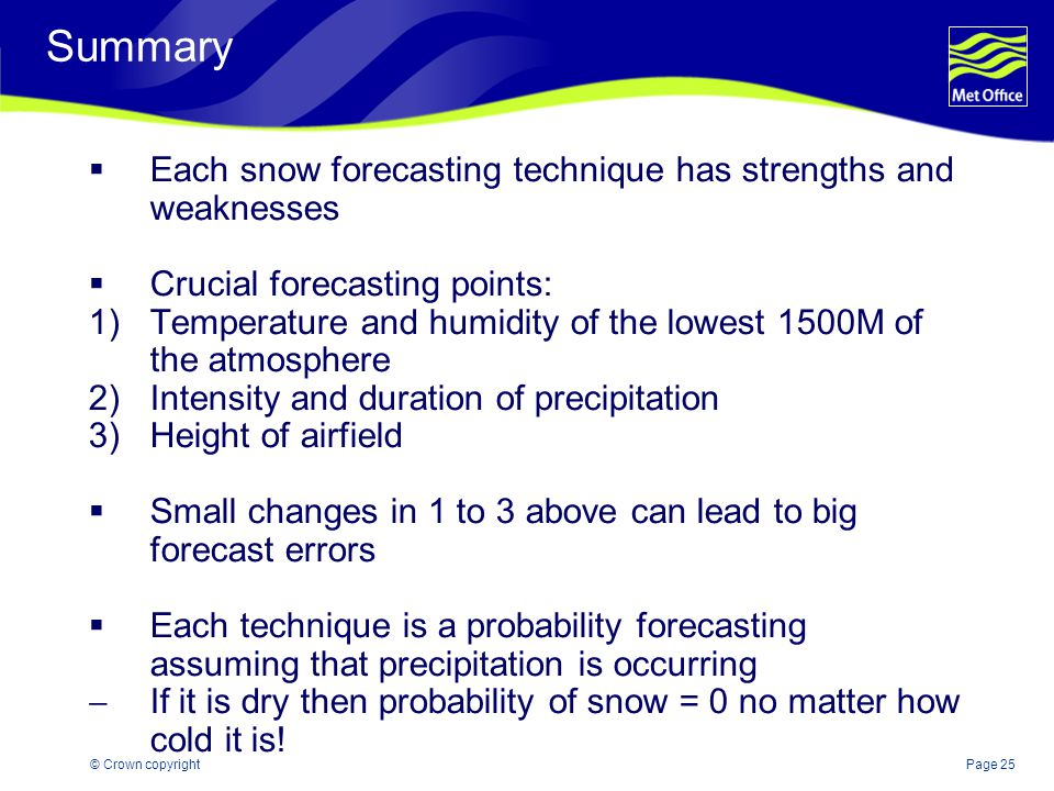 Summary Each snow forecasting technique has strengths and weaknesses