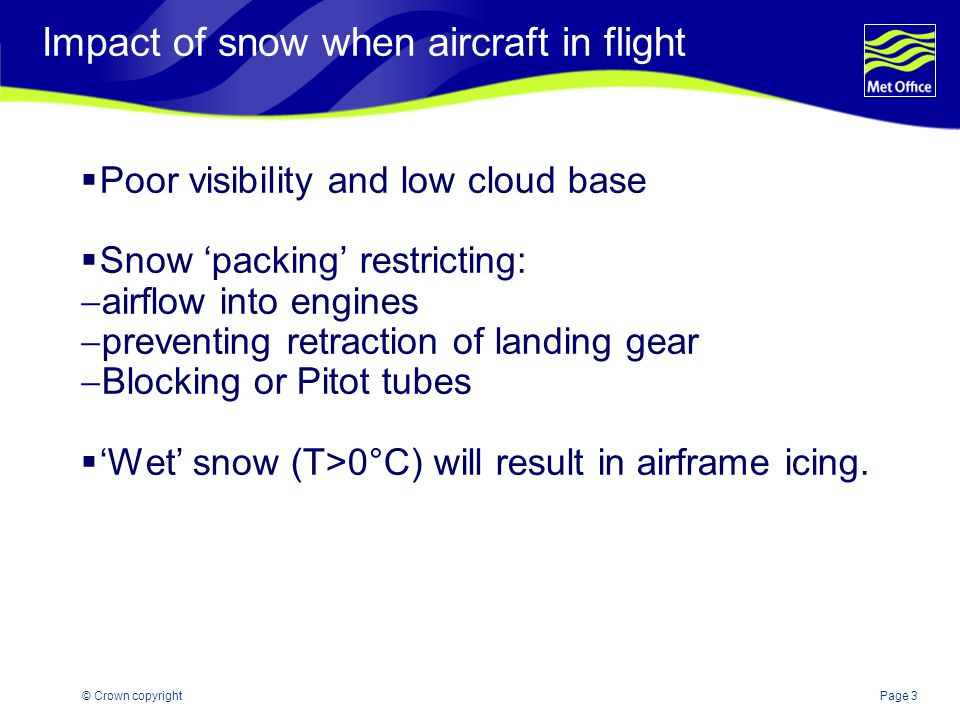 Impact of snow when aircraft in flight