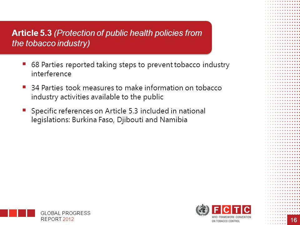 Article 5.3 (Protection of public health policies from the tobacco industry)