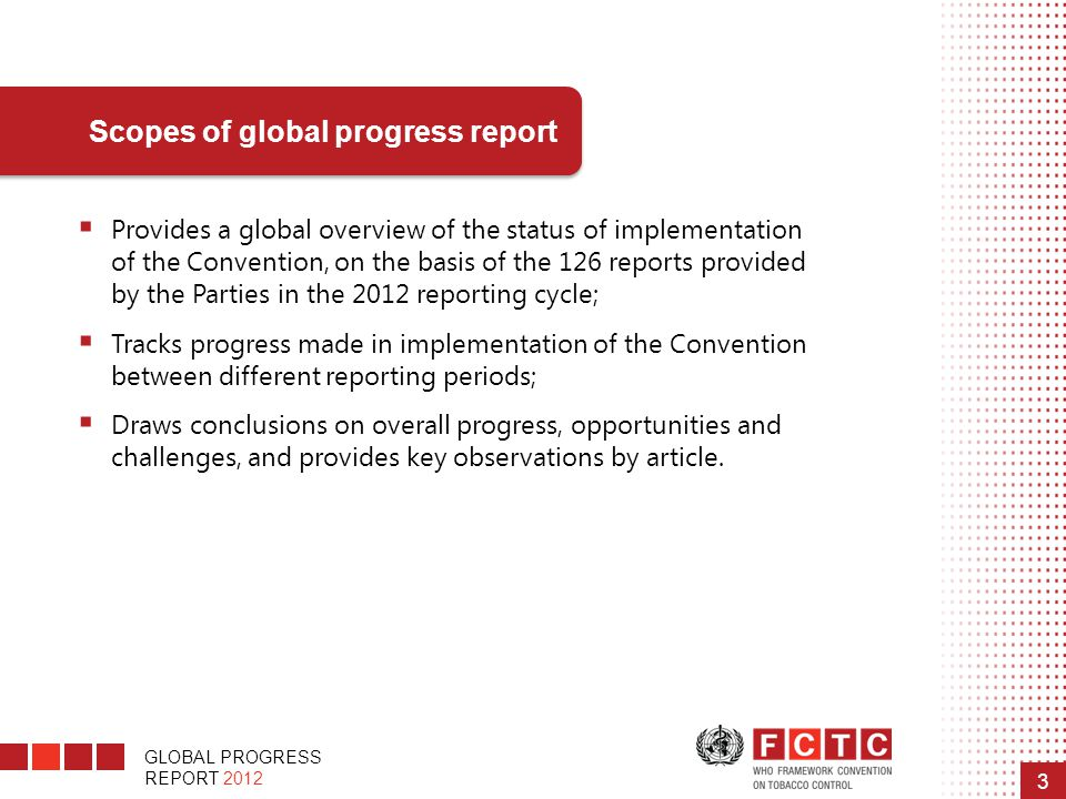 Scopes of global progress report