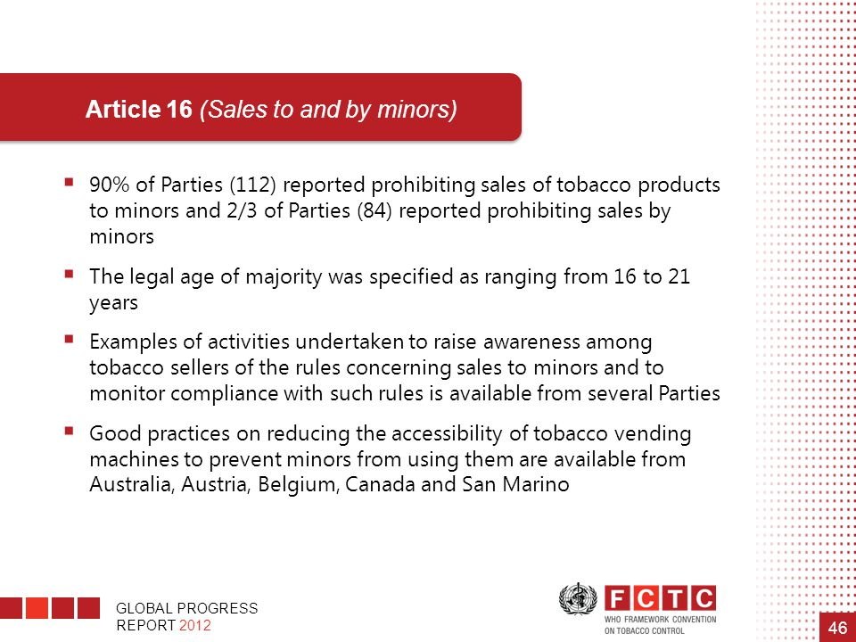 Article 16 (Sales to and by minors)