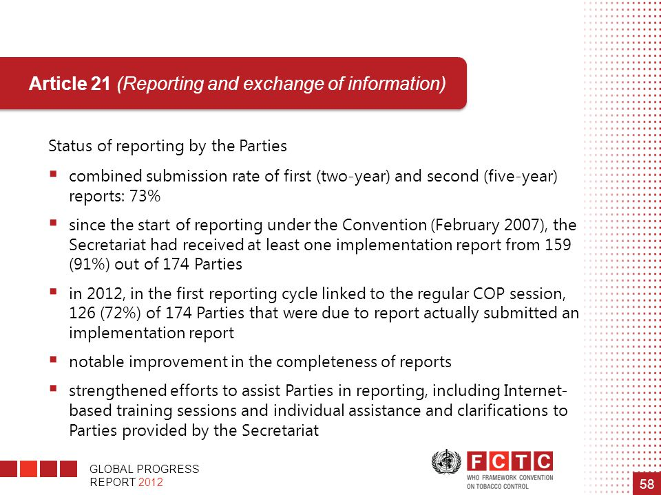 Article 21 (Reporting and exchange of information)