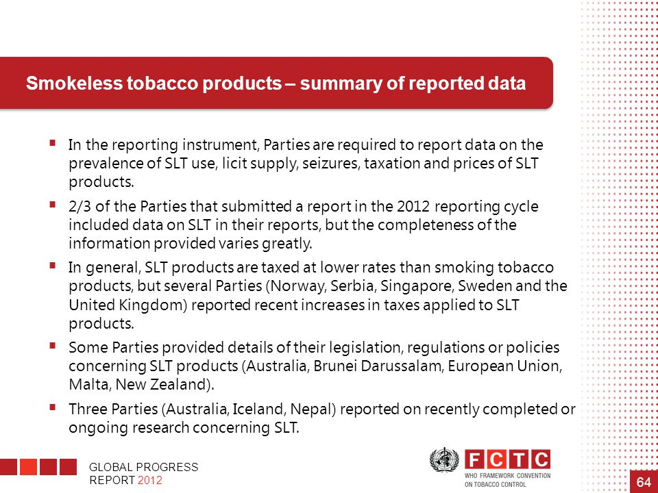 Smokeless tobacco products – summary of reported data