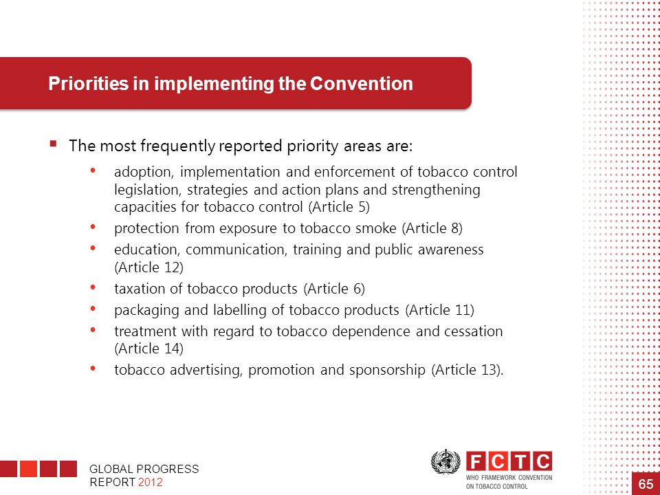 Priorities in implementing the Convention